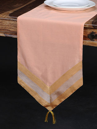 Peach Chanderi and Cotton Table Runner (74in x 13in)