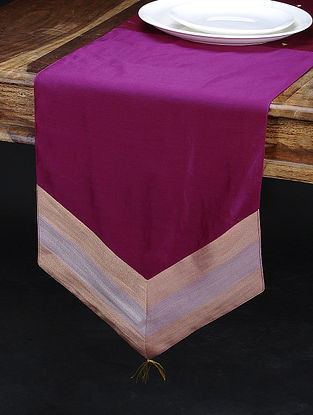 Magenta Chanderi and Cotton Table Runner (72in x 13in)