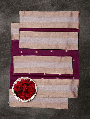 Magenta Chanderi and Cotton Table Mats (Set of 6) (19in x 13in)
