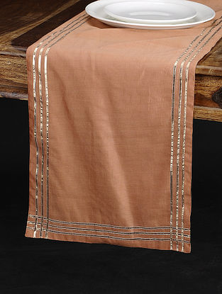 Pink Chanderi and Cotton Table Runner (73in x 13in)