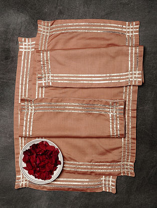 Pink Chanderi and Cotton Table Mats (Set of 6) (19in x 12.5in)