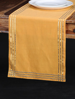 Tangerine Chanderi and Cotton Table Runner (75in x 13in)