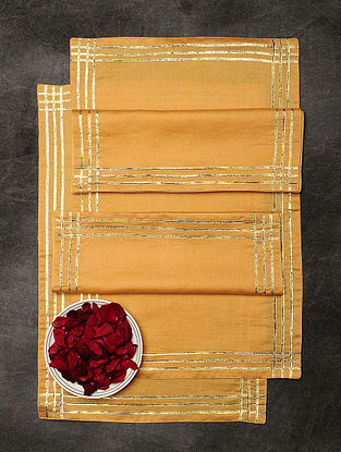 Tangerine Chanderi and Cotton Table Mats (Set of 6) (19in x 12.5in)