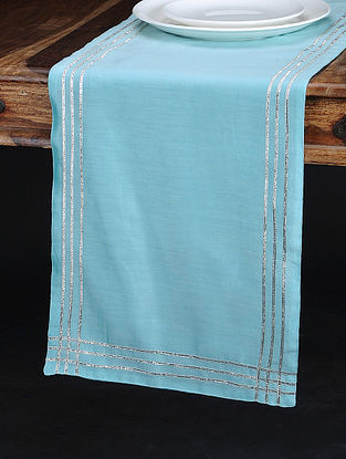Light Blue Chanderi and Cotton Table Runner (70in x 13in)
