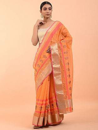Orange Handwoven Block Printed Chanderi Saree