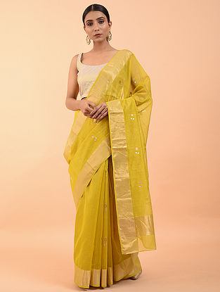Lime Yellow Handwoven Chanderi Saree