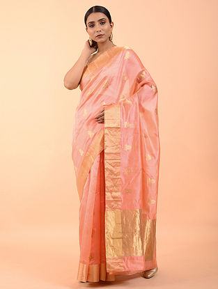 Rose Pink Handwoven Chanderi Saree