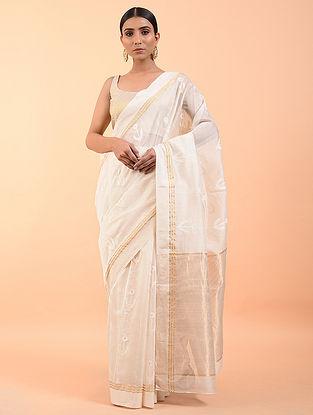 Off White Handwoven Chanderi Saree