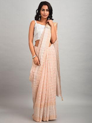 Light Pink Organza Linen Saree with Zari