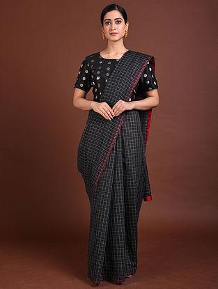 Black Handwoven Silk Cotton Saree