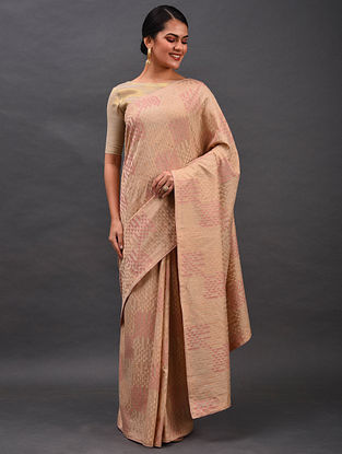 Beige-Pink Embroidered Chanderi Saree