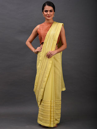 Yellow Embroidered Chanderi Saree