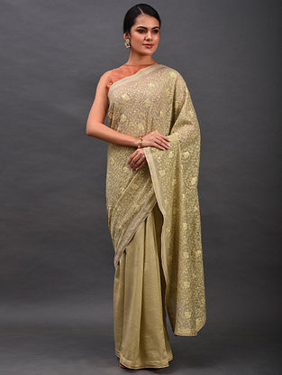 Beige Embroidered Chanderi Saree