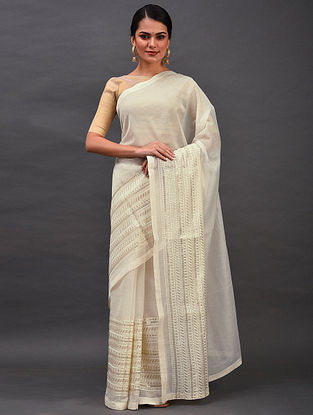 White Embroidered Chanderi Saree