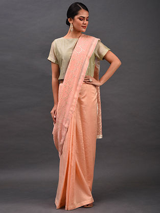 Peach Embroidered Chanderi Saree