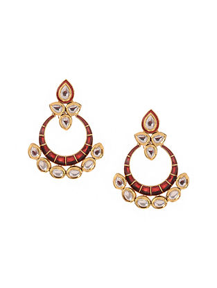 Red Kundan Inspired Gold Tone Brass Earrings