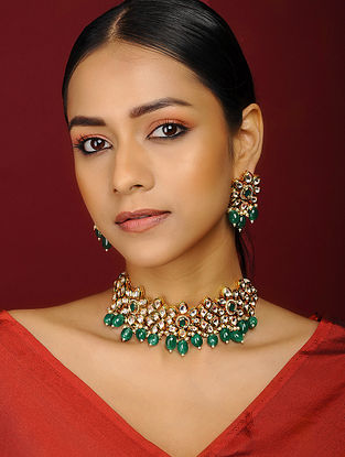 Green Kundan Inspired Gold Tone Brass Necklace