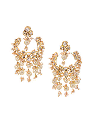 White Kundan Inspired Gold Tone Brass Earrings