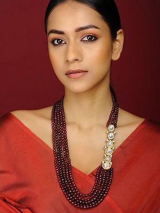 Maroon Kundan Inspired Gold Tone Brass Necklace