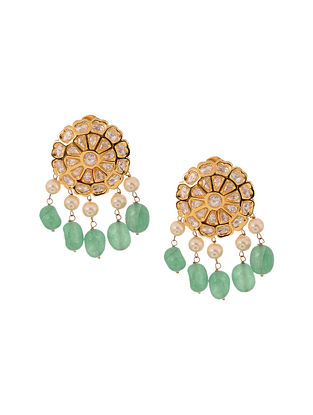 Green Kundan Inspired Gold Tone Brass Earrings