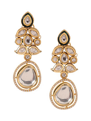 Kundan Inspired Gold Tone Brass Earrings
