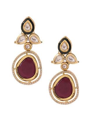 Red Kundan Inspired Gold Tone Brass Earrings