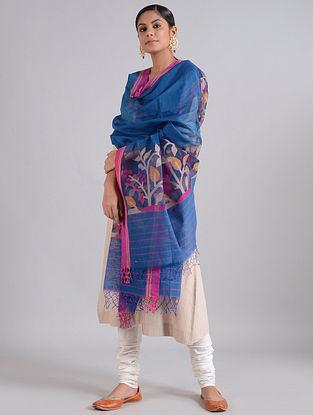 Blue-Pink Handwoven Dhakai Muslin Silk Dupatta