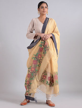 Beige-Blue Handwoven Dhakai Muslin Silk Dupatta