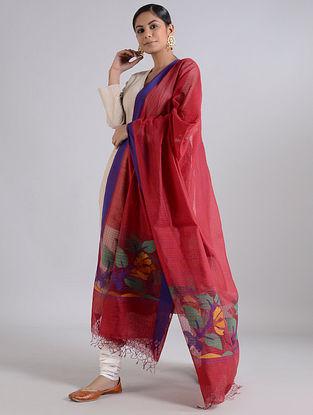 Red-Blue Handwoven Dhakai Muslin Silk Dupatta