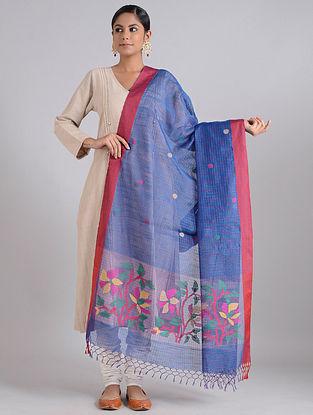 Blue-Red Handwoven Dhakai Muslin Silk Dupatta