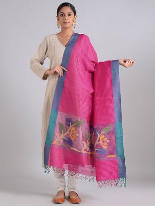 Pink-Blue Handwoven Dhakai Muslin Silk Dupatta