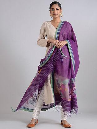 Purple-Green Handwoven Dhakai Muslin Silk Dupatta