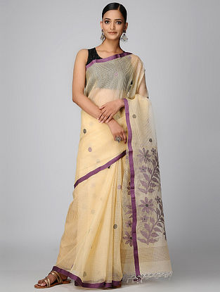 Beige-Purple Kota Muslin Saree