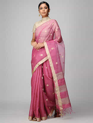 Pink Kota Muslin Saree with Zari