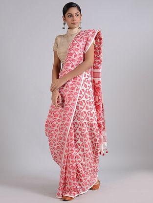 Ivory-Pink Handwoven Dhakai Jamdani Cotton Silk Saree