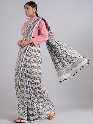Ivory-Black Handwoven Dhakai Jamdani Cotton Silk Saree