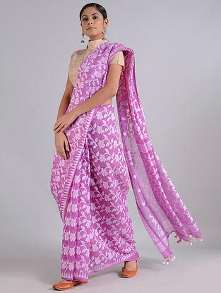 Ivory-Purple Handwoven Dhakai Jamdani Cotton Silk Saree