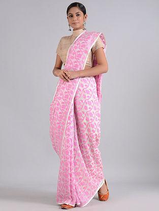 Pink-Ivory Handwoven Dhakai Jamdani Cotton Silk Saree