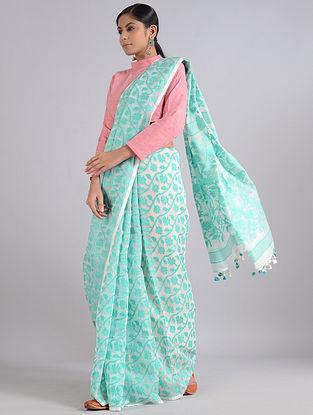 Ivory-Green Handwoven Dhakai Jamdani Cotton Silk Saree