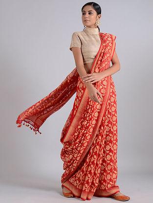 Red-Beige Handwoven Dhakai Muslin Silk Dupatta