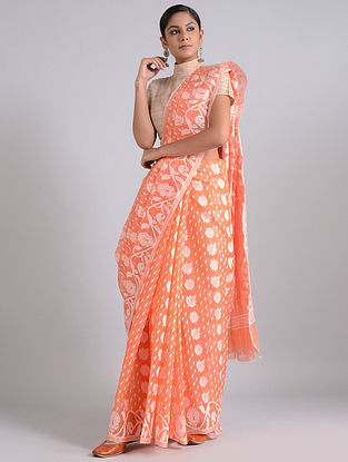 Orange-Ivory Handwoven Dhakai Jamdani Cotton Silk Saree