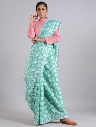 Cyan Handwoven Dhakai Jamdani Cotton Silk Saree
