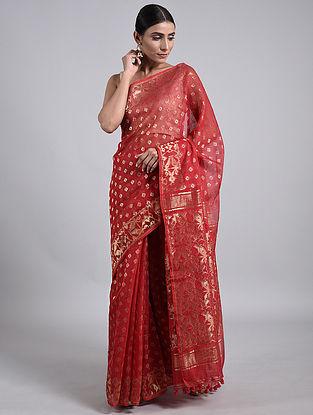 Red Handwoven Dhakai Jamdani Cotton Silk Saree