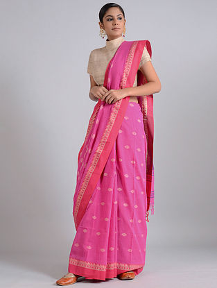Pink Handwoven Cotton Saree