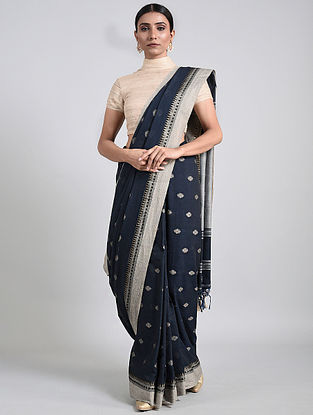 Navy Blue Handwoven Cotton Saree