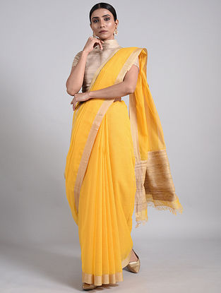 Yellow Handwoven Cotton Saree with Muga Silk Border