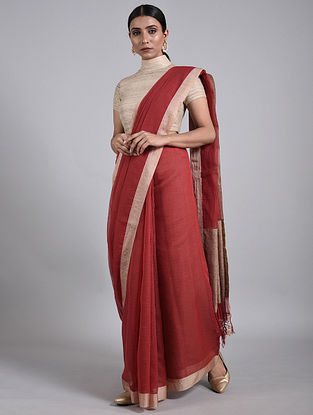 Red Handwoven Cotton Saree with Muga Silk Border