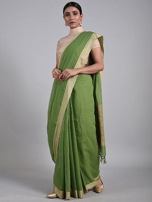 Green Handwoven Cotton Saree with Muga Silk Border