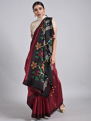 Red-Black Handwoven Matka Silk Saree