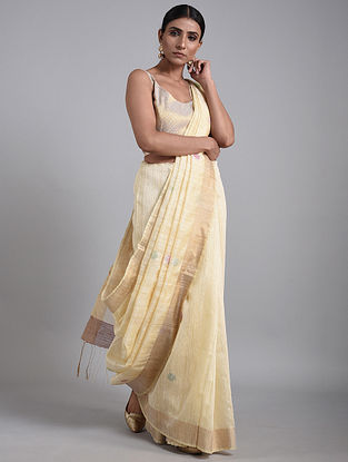 Cream Handwoven Matka Silk Saree